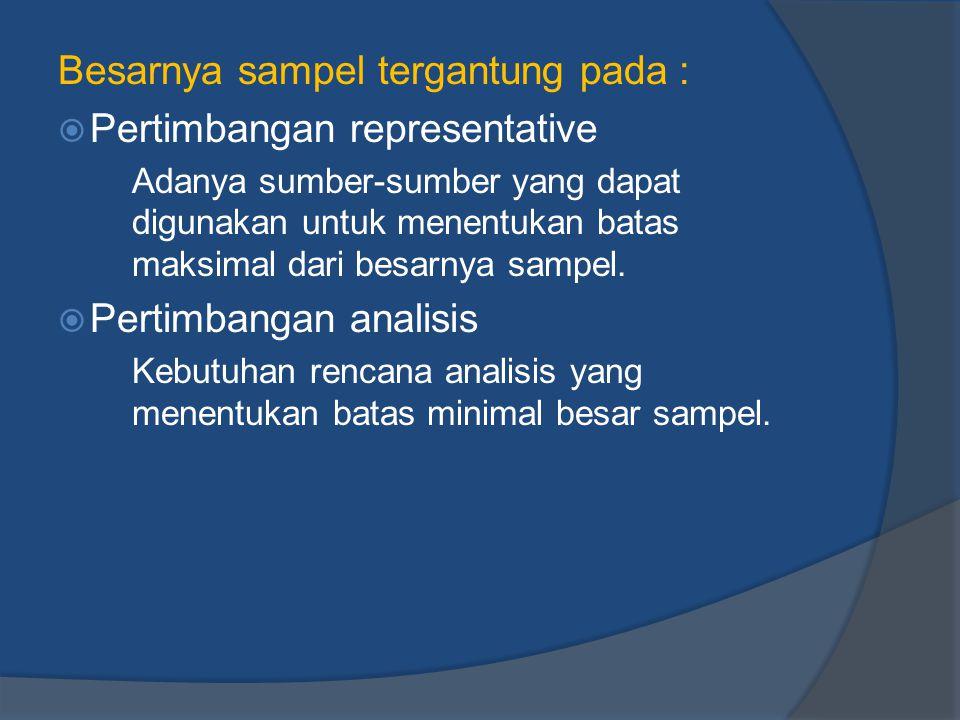 Besarnya sampel tergantung pada :  Pertimbangan representative Adanya sumber-sumber yang dapat digunakan untuk menentukan batas maksimal dari besarny