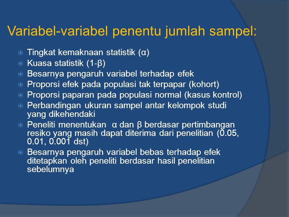 Variabel-variabel penentu jumlah sampel:  Tingkat kemaknaan statistik (α)  Kuasa statistik (1-β)  Besarnya pengaruh variabel terhadap efek  Propor
