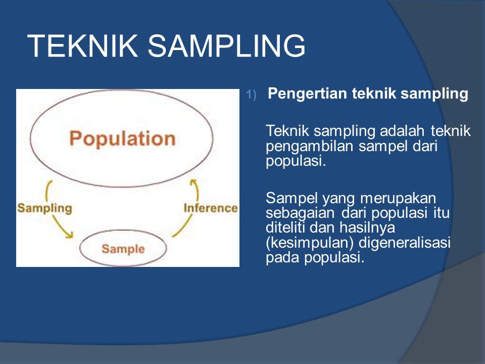TEKNIK SAMPLING 1) Pengertian teknik sampling Teknik sampling adalah teknik pengambilan sampel dari populasi. Sampel yang merupakan sebagaian dari pop