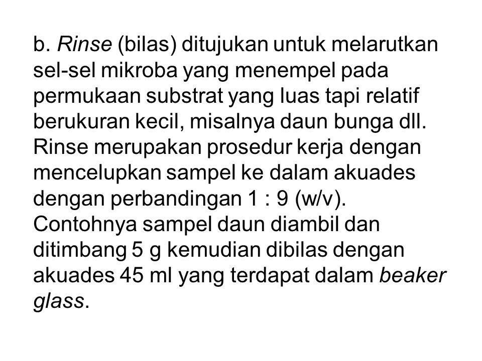 b. Rinse (bilas) ditujukan untuk melarutkan sel-sel mikroba yang menempel pada permukaan substrat yang luas tapi relatif berukuran kecil, misalnya dau