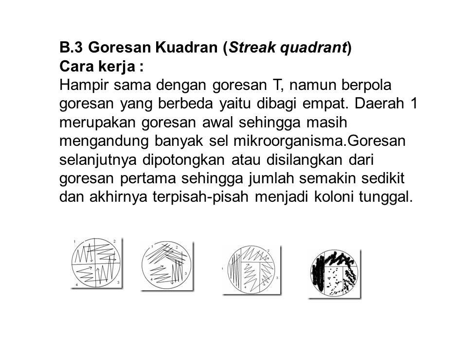 B.3 Goresan Kuadran (Streak quadrant) Cara kerja : Hampir sama dengan goresan T, namun berpola goresan yang berbeda yaitu dibagi empat. Daerah 1 merup