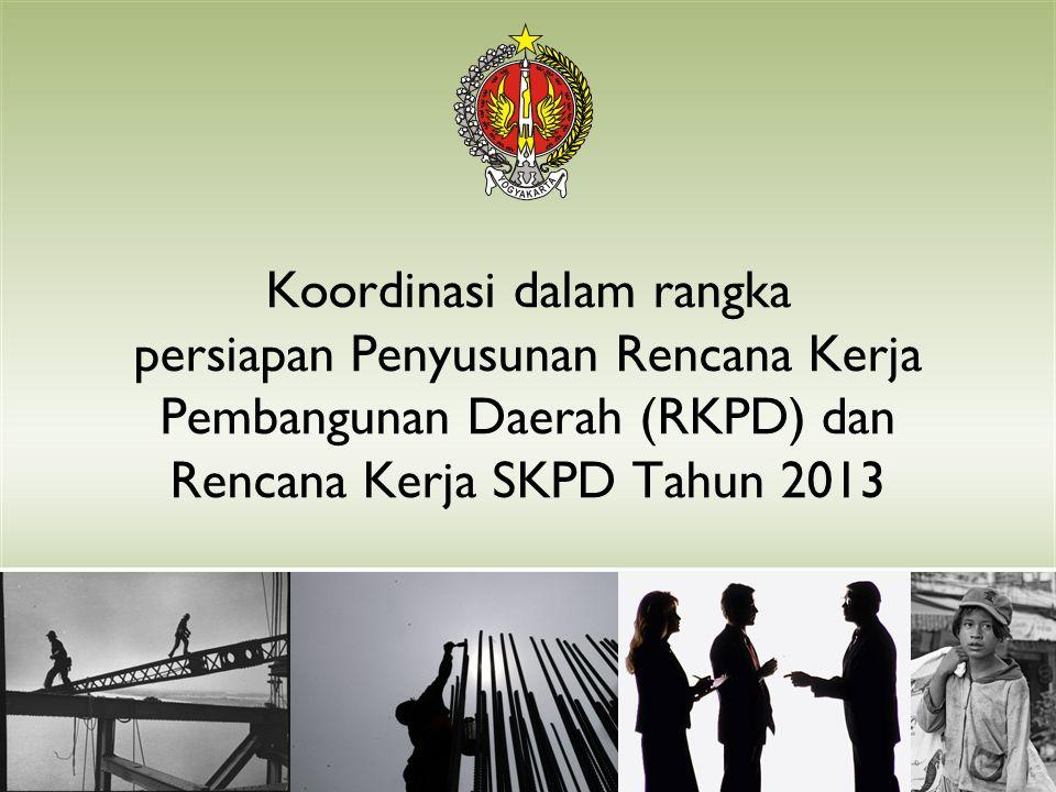 Pemilihan Tema Pembangunan Nasional Tahun 2013 (RKP) Opsi 1 : MEMANTAPKAN EKONOMI DOMESTIK YANG KUAT BAGI PENINGKATAN DAN PERLUASAN KESEJAHTERAAN RAKYAT Opsi 2 : PENGUATAN DAYA TAHAN EKONOMI NASIONAL UNTUK MENINGKATKAN KESEJAHTERAAN RAKYAT Kata kunci untuk kedua pilihan tema ini pada hakekatnya sama, yaitu: (1)Daya Tahan Ekonomi (Resilience ); (2)Daya Saing; (3) Peningkatan dan Perluasan Kesra Diacu daerah dengan penajaman memperhatikan lokalitas