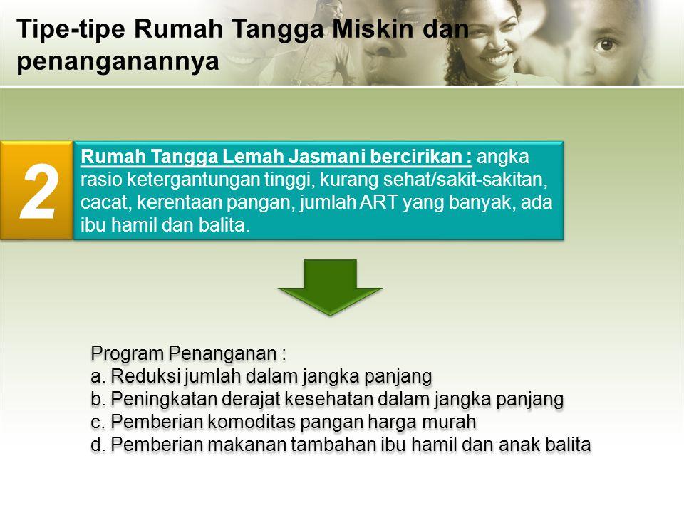 Rumah Tangga Lemah Jasmani bercirikan : angka rasio ketergantungan tinggi, kurang sehat/sakit-sakitan, cacat, kerentaan pangan, jumlah ART yang banyak