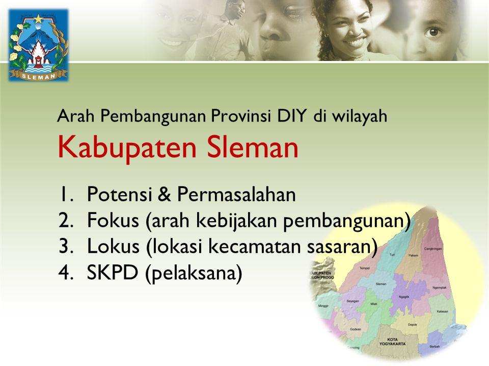 Arah Pembangunan Provinsi DIY di wilayah Kabupaten Sleman 1.Potensi & Permasalahan 2.Fokus (arah kebijakan pembangunan) 3.Lokus (lokasi kecamatan sasa