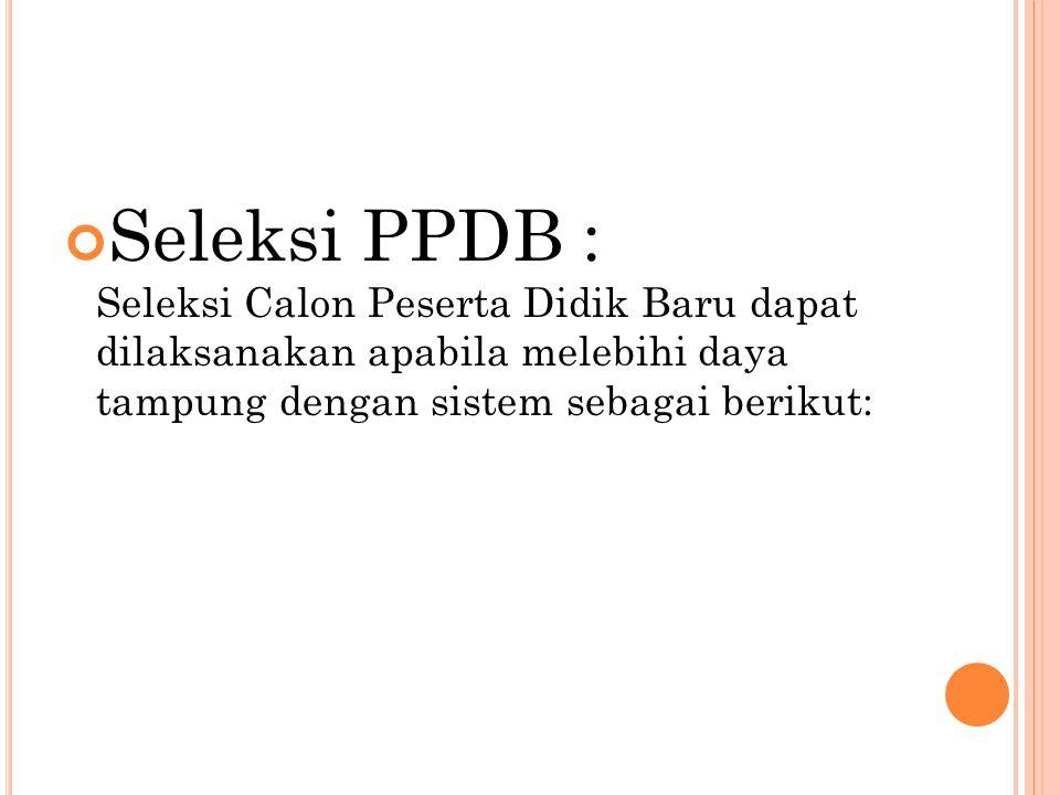 Seleksi PPDB : Seleksi Calon Peserta Didik Baru dapat dilaksanakan apabila melebihi daya tampung dengan sistem sebagai berikut:
