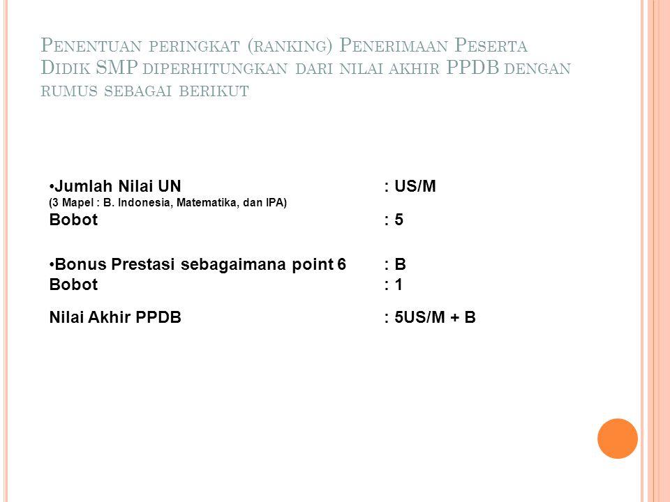  Seleksi calon peserta didik kelas VII untuk SMP dilakukan berdasar peringkat (ranking) dari Nilai Akhir PPDB yang terdiri atas : a. Jumlah Nilai US/