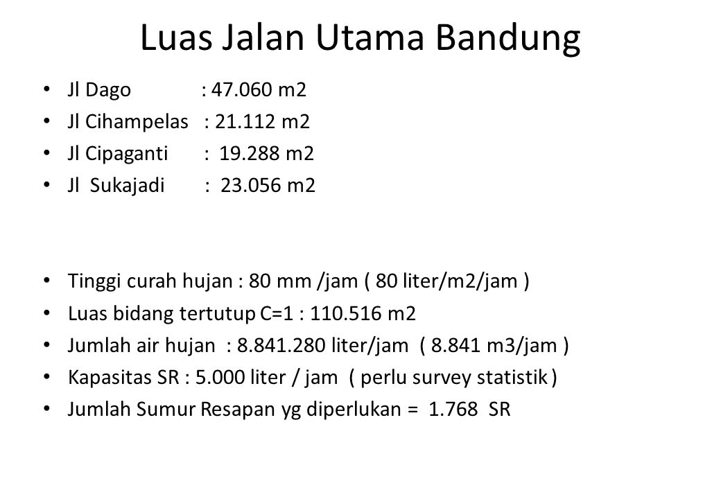 Luas Jalan Utama Bandung • Jl Dago : 47.060 m2 • Jl Cihampelas : 21.112 m2 • Jl Cipaganti : 19.288 m2 • Jl Sukajadi : 23.056 m2 • Tinggi curah hujan :