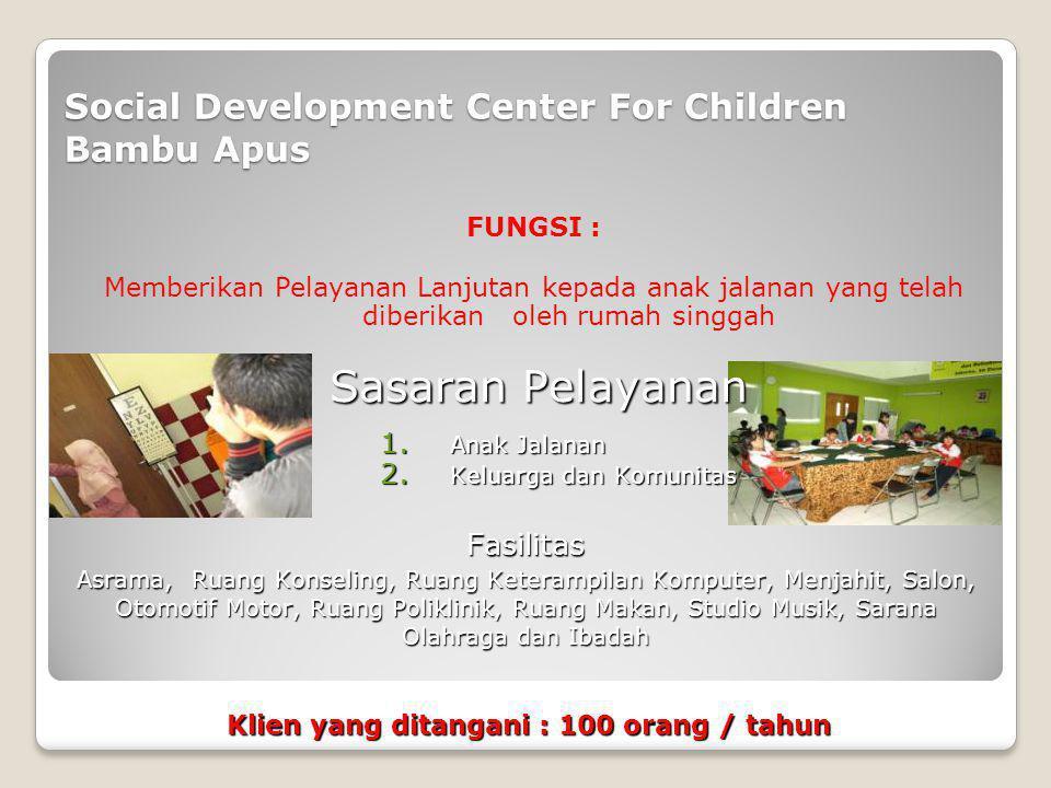 Rumah Perlindungan Sosial Anak Bambu Apus FUNGSI : Memberikan Perlindungan kepada anak yang membutuhkan perlindungan khusus 1.