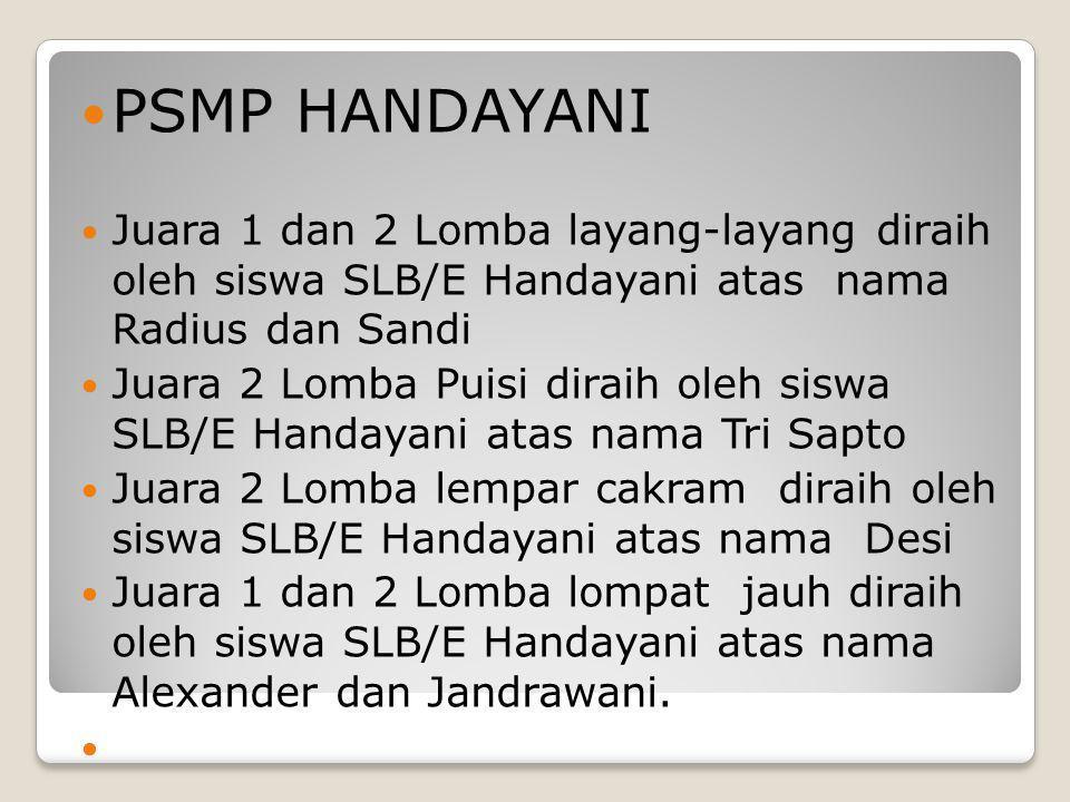  PSMP HANDAYANI  Juara 1 dan 2 Lomba layang-layang diraih oleh siswa SLB/E Handayani atas nama Radius dan Sandi  Juara 2 Lomba Puisi diraih oleh si