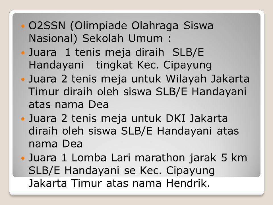 O2SSN (Olimpiade Olahraga Siswa Nasional) Sekolah Umum :  Juara 1 tenis meja diraih SLB/E Handayani tingkat Kec. Cipayung  Juara 2 tenis meja untu