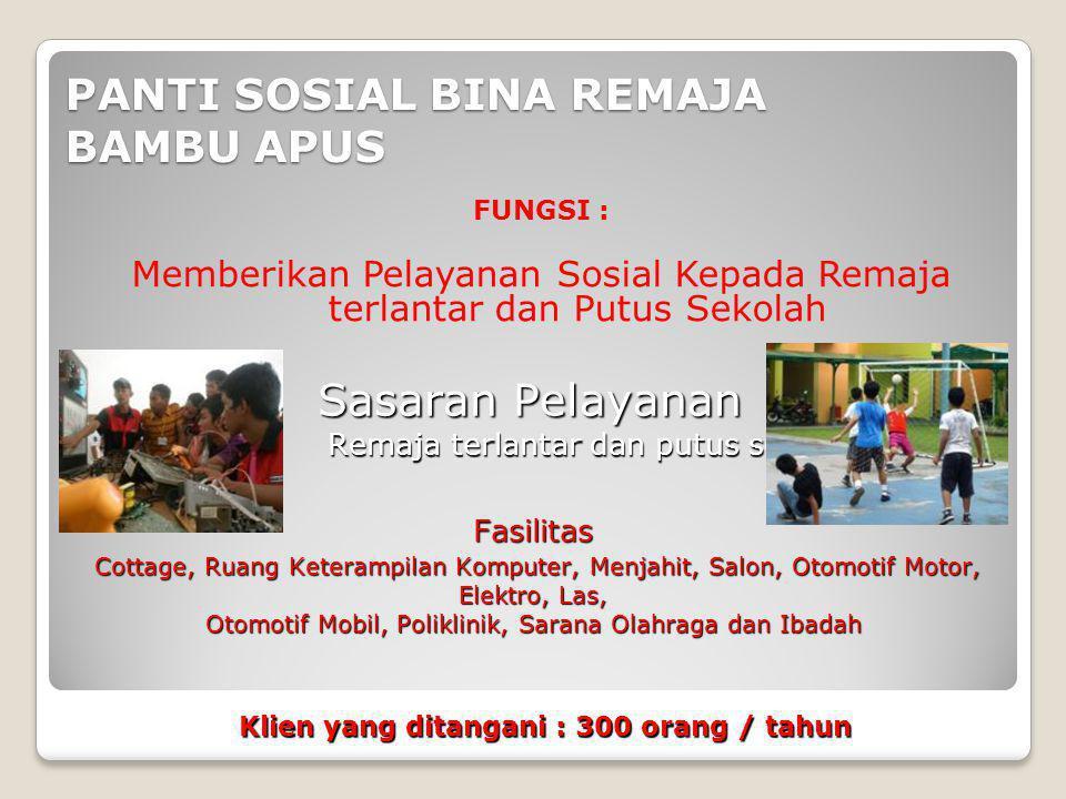 PANTI SOSIAL BINA REMAJA BAMBU APUS FUNGSI : Memberikan Pelayanan Sosial Kepada Remaja terlantar dan Putus Sekolah Remaja terlantar dan putus sekolah
