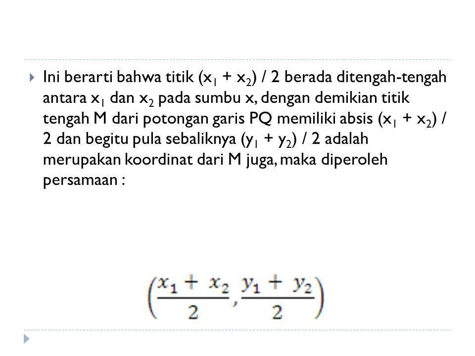 Ini berarti bahwa titik (x 1 + x 2 ) / 2 berada ditengah-tengah antara x 1 dan x 2 pada sumbu x, dengan demikian titik tengah M dari potongan garis