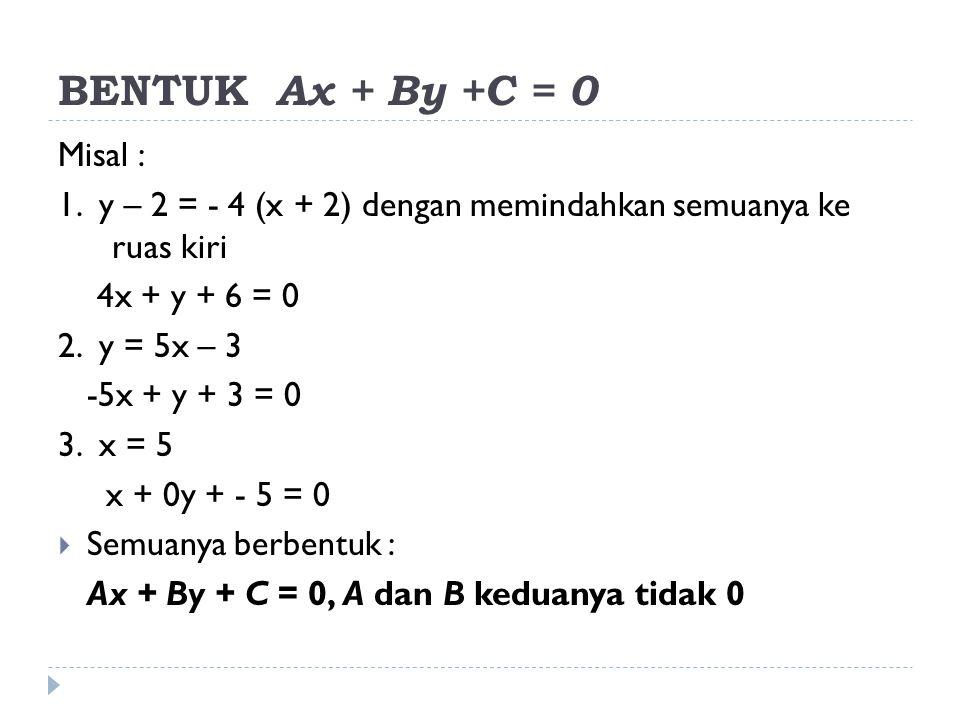 BENTUK Ax + By +C = 0 Misal : 1. y – 2 = - 4 (x + 2) dengan memindahkan semuanya ke ruas kiri 4x + y + 6 = 0 2. y = 5x – 3 -5x + y + 3 = 0 3. x = 5 x
