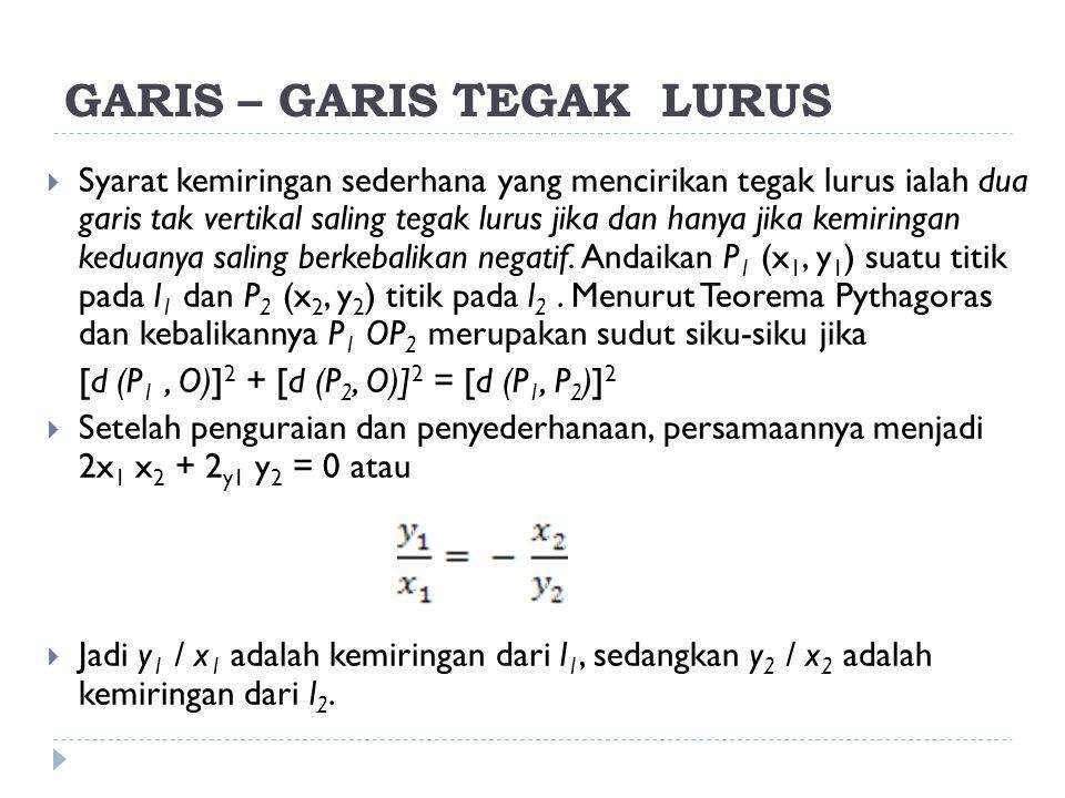 GARIS – GARIS TEGAK LURUS  Syarat kemiringan sederhana yang mencirikan tegak lurus ialah dua garis tak vertikal saling tegak lurus jika dan hanya jik