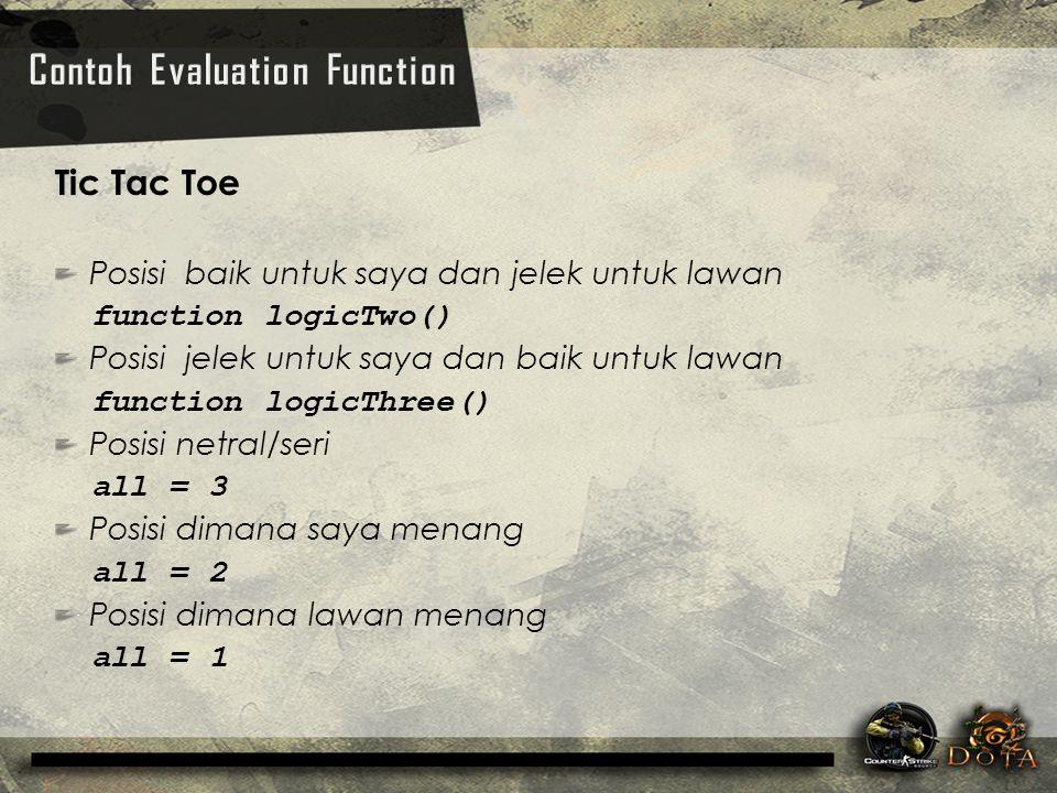 Tic Tac Toe Posisi baik untuk saya dan jelek untuk lawan function logicTwo() Posisi jelek untuk saya dan baik untuk lawan function logicThree() Posisi