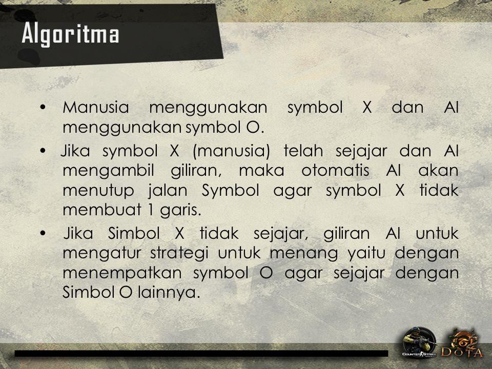Manusia menggunakan symbol X dan AI menggunakan symbol O. Jika symbol X (manusia) telah sejajar dan AI mengambil giliran, maka otomatis AI akan menutu