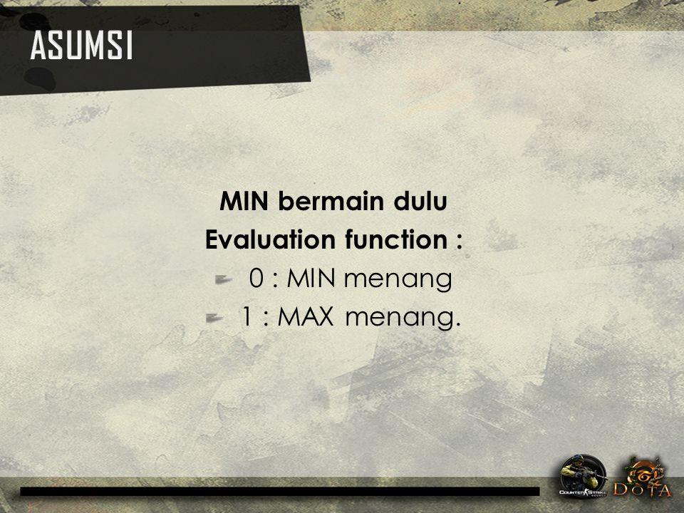MIN bermain dulu Evaluation function : 0 : MIN menang 1 : MAX menang.
