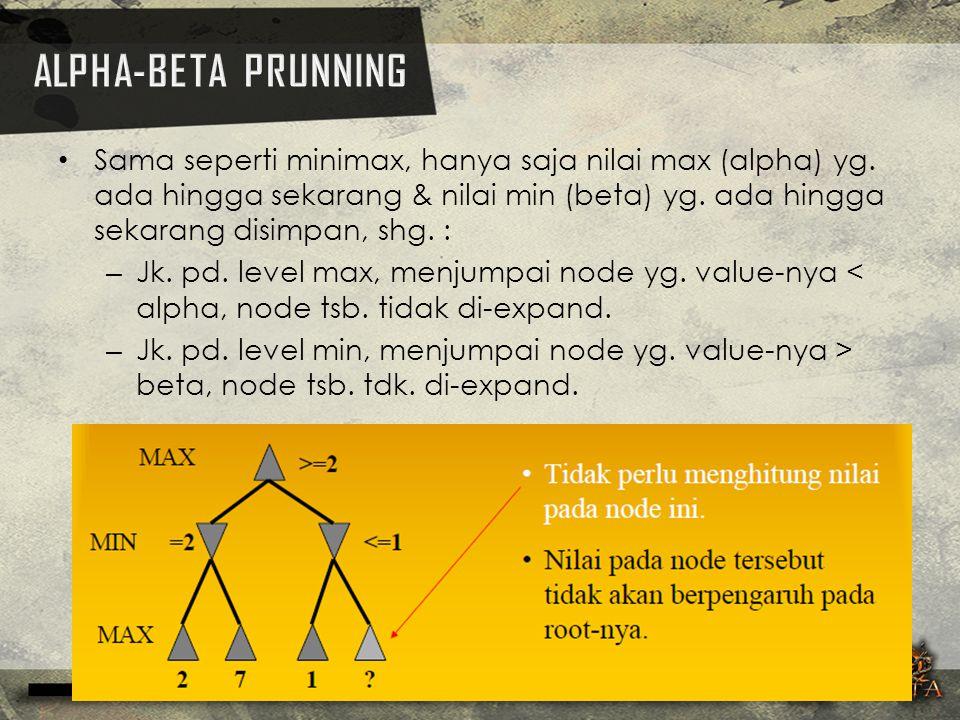 Sama seperti minimax, hanya saja nilai max (alpha) yg. ada hingga sekarang & nilai min (beta) yg. ada hingga sekarang disimpan, shg. : – Jk. pd. level
