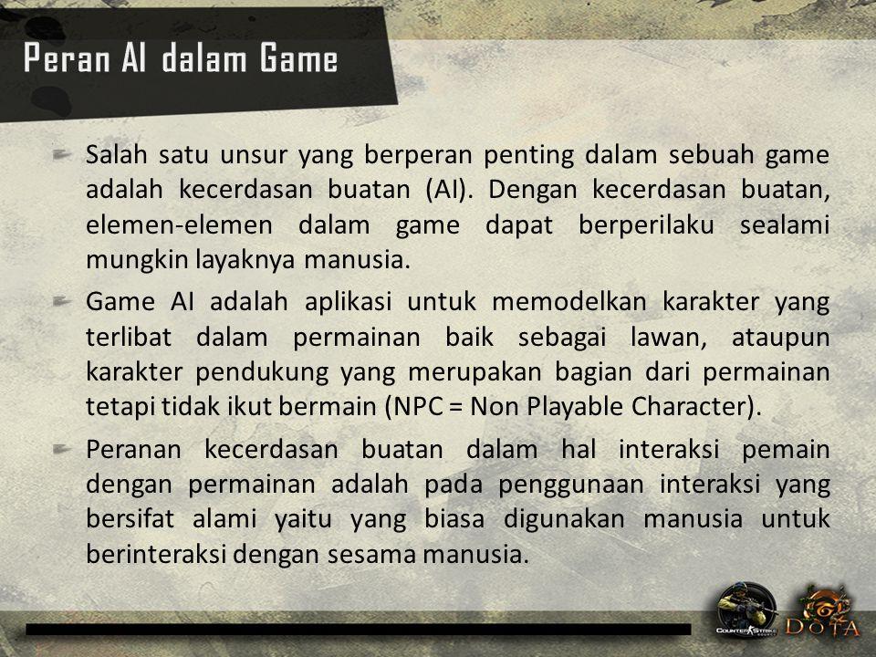 Salah satu unsur yang berperan penting dalam sebuah game adalah kecerdasan buatan (AI). Dengan kecerdasan buatan, elemen-elemen dalam game dapat berpe