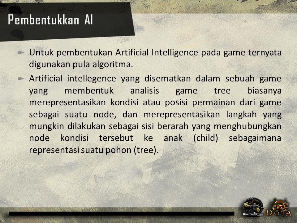 Untuk pembentukan Artificial Intelligence pada game ternyata digunakan pula algoritma. Artificial intellegence yang disematkan dalam sebuah game yang
