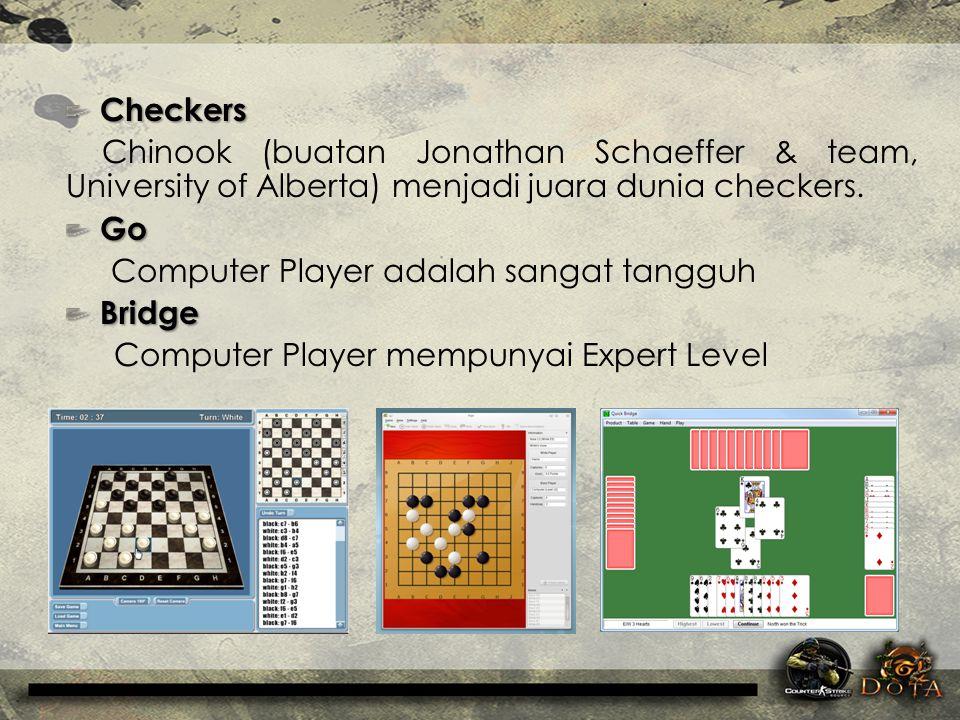 Checkers Checkers Chinook (buatan Jonathan Schaeffer & team, University of Alberta) menjadi juara dunia checkers. Go Go Computer Player adalah sangat