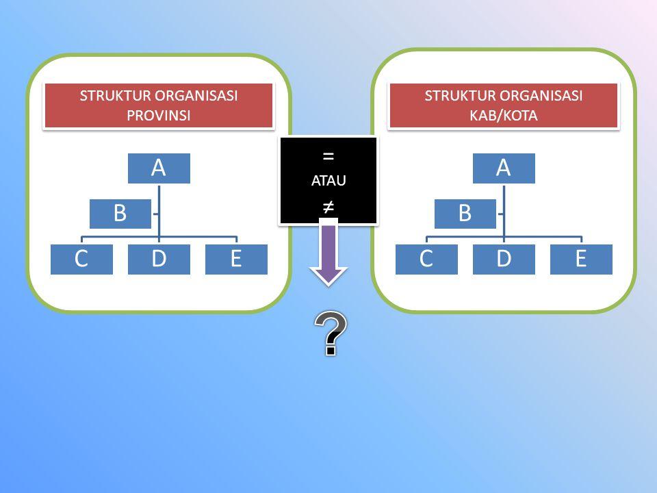 STRUKTUR ORGANISASI PROVINSI STRUKTUR ORGANISASI KAB/KOTA = ATAU ≠ = ATAU ≠