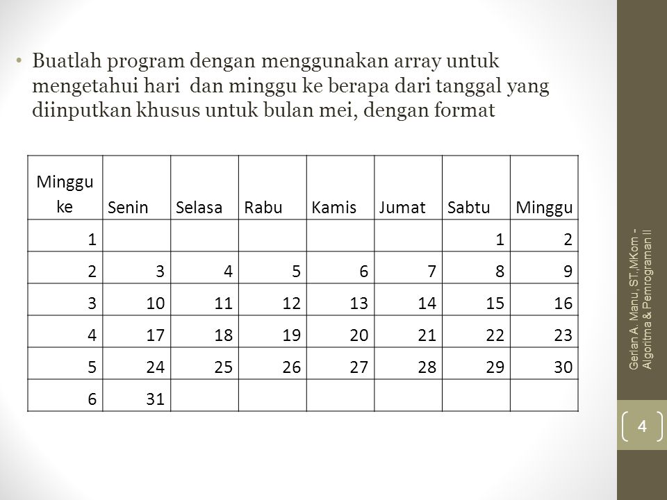 Buatlah program dengan menggunakan array untuk mengetahui hari dan minggu ke berapa dari tanggal yang diinputkan khusus untuk bulan mei, dengan format