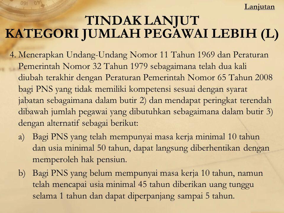 TINDAK LANJUT KATEGORI JUMLAH PEGAWAI LEBIH (L) 4.Menerapkan Undang-Undang Nomor 11 Tahun 1969 dan Peraturan Pemerintah Nomor 32 Tahun 1979 sebagaiman