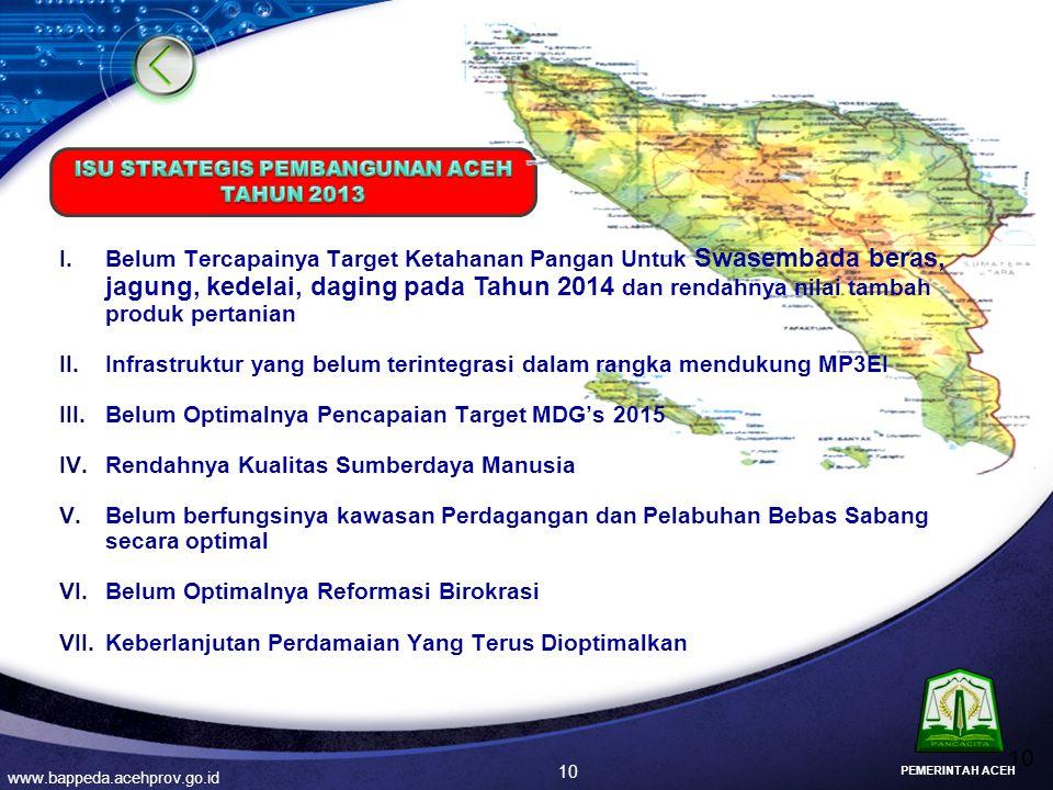 10 www.bappeda.acehprov.go.id I.Belum Tercapainya Target Ketahanan Pangan Untuk Swasembada beras, jagung, kedelai, daging pada Tahun 2014 dan rendahny