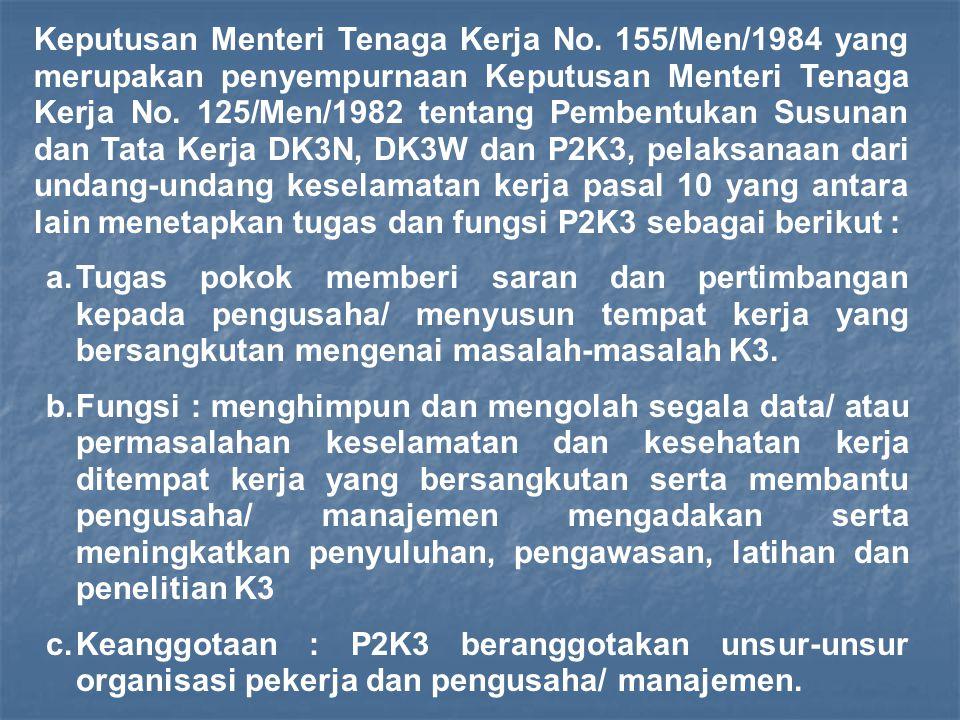 Organisasi P2K3 terdiri dari sekurang-kurangnya Ketua, Sekretaris dan Anggota.