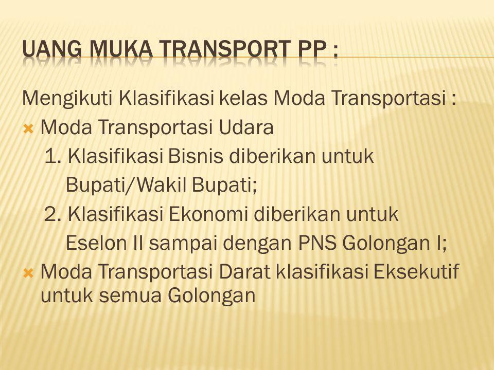 Mengikuti Klasifikasi kelas Moda Transportasi :  Moda Transportasi Udara 1. Klasifikasi Bisnis diberikan untuk Bupati/Wakil Bupati; 2. Klasifikasi Ek