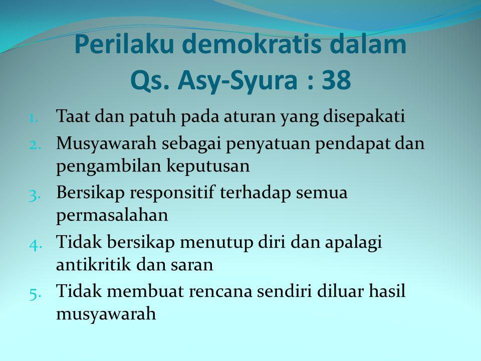 Mengartikan/terjemahan Dan (bagi) orang-orang yang menerima (mematuhi) seruan Tuhannya dan mendirikan shalat, sedang urusan mereka (diputuskan) dengan