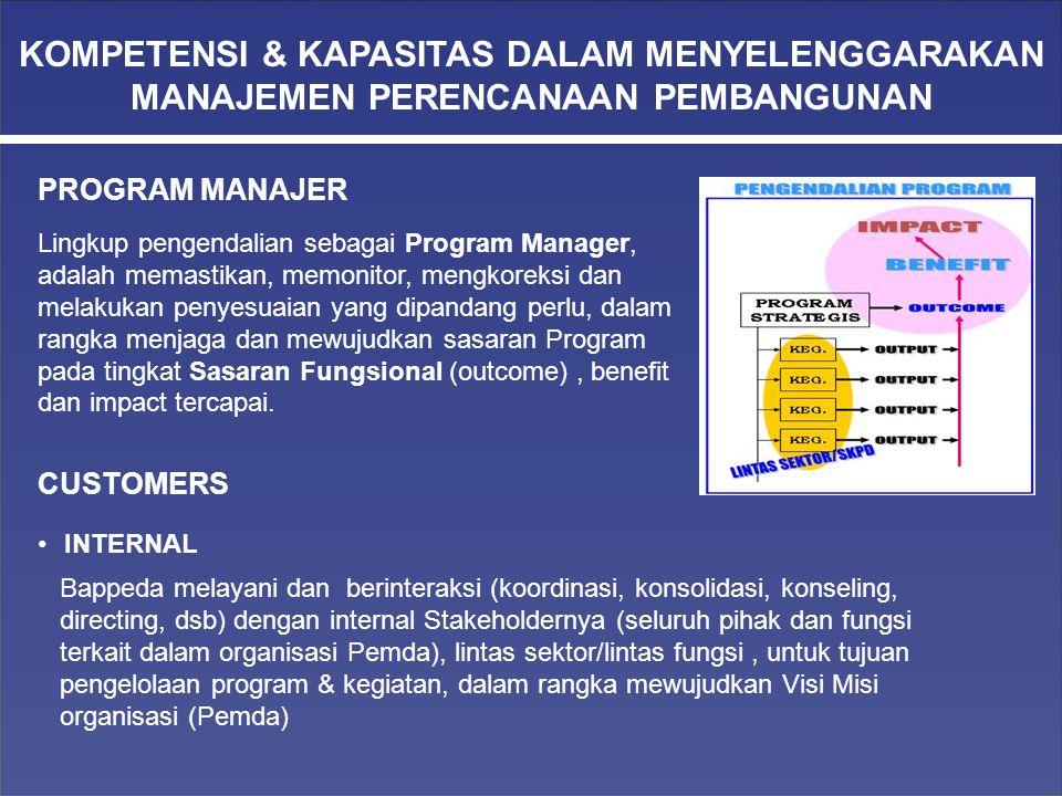 Lingkup pengendalian sebagai Program Manager, adalah memastikan, memonitor, mengkoreksi dan melakukan penyesuaian yang dipandang perlu, dalam rangka m