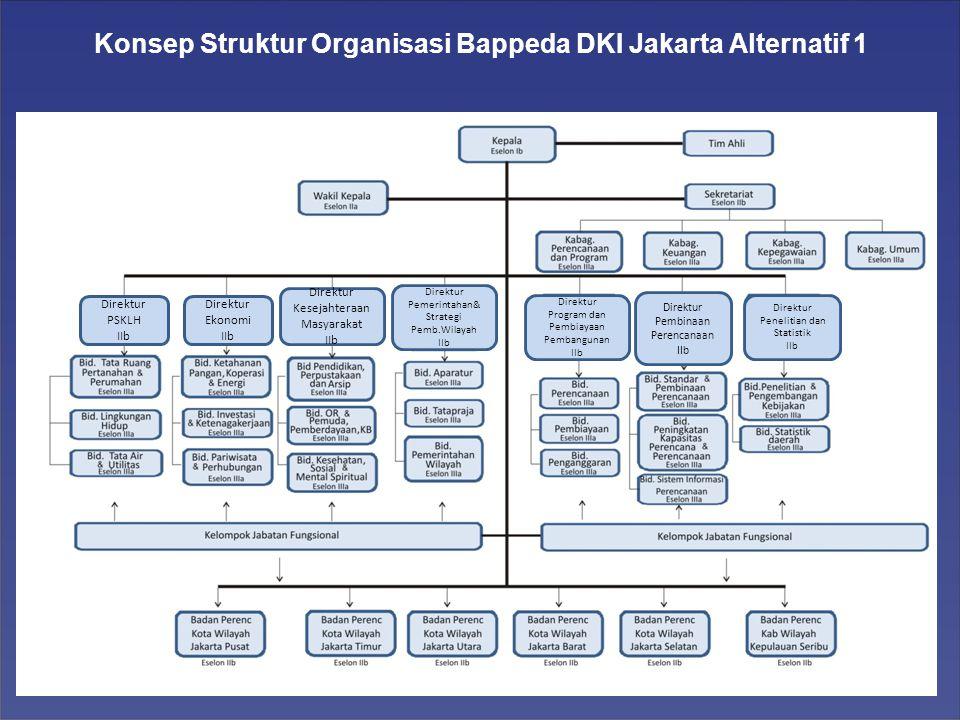 Konsep Struktur Organisasi Bappeda DKI Jakarta Alternatif 1 Direktur PSKLH IIb Direktur Ekonomi IIb Direktur Kesejahteraan Masyarakat IIb Direktur Pemerintahan& Strategi Pemb.Wilayah IIb Direktur Program dan Pembiayaan Pembangunan IIb Direktur Pembinaan Perencanaan IIb Direktur Penelitian dan Statistik IIb