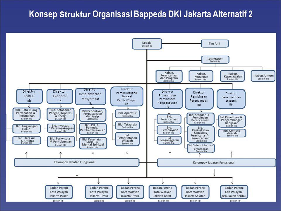 Konsep Struktur Organisasi Bappeda DKI Jakarta Alternatif 2 Direktur PSKLH IIb Direktur Ekonomi IIb Direktur Kesejahteraan Masyarakat IIb Direktur Pemerintahan& Strategi Pemb.Wilayah IIb Direktur Program dan Pembiayaan Pembangunan IIb Direktur Pembinaan Perencanaan IIb Direktur Penelitian dan Statistik IIb