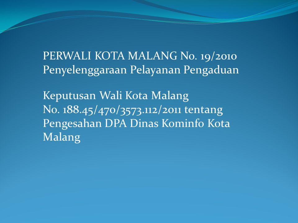 PERWALI KOTA MALANG No. 19/2010 Penyelenggaraan Pelayanan Pengaduan Keputusan Wali Kota Malang No.
