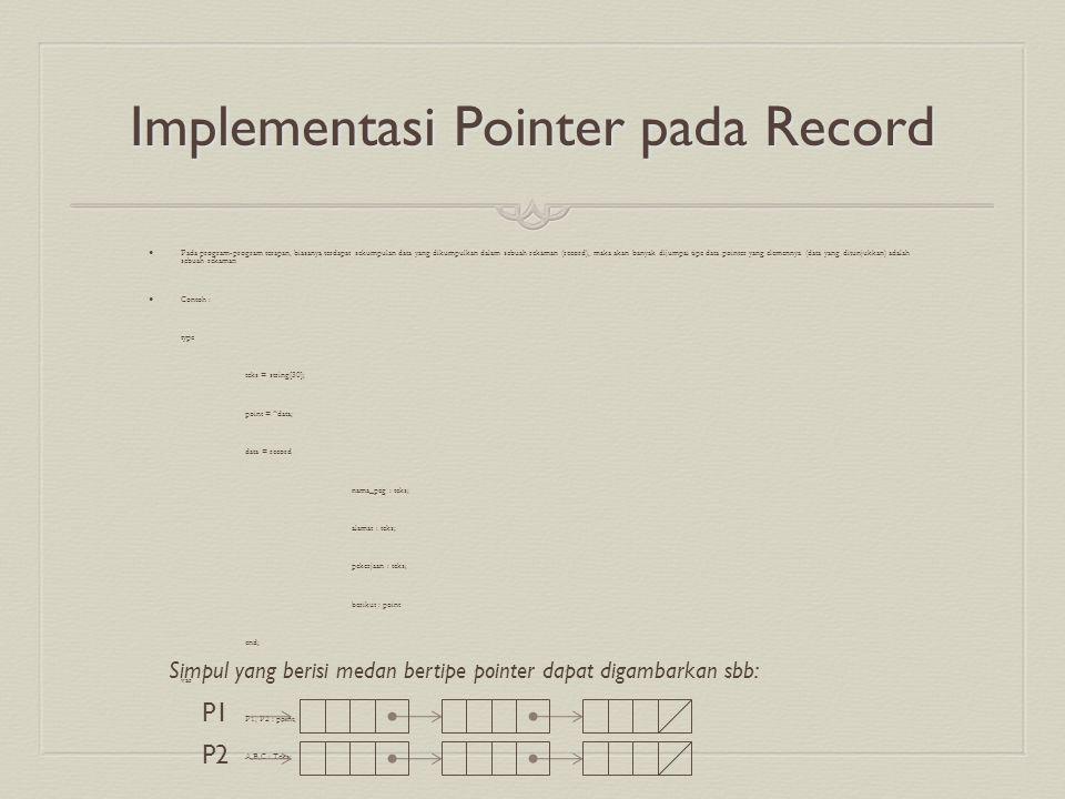 Implementasi Pointer pada Record Pada program-program terapan, biasanya terdapat sekumpulan data yang dikumpulkan dalam sebuah rekaman (record), maka