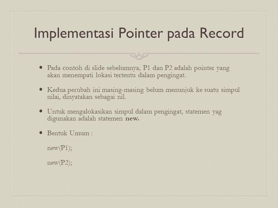 Implementasi Pointer pada Record Pada contoh di slide sebelumnya, P1 dan P2 adalah pointer yang akan menempati lokasi tertentu dalam pengingat. Kedua