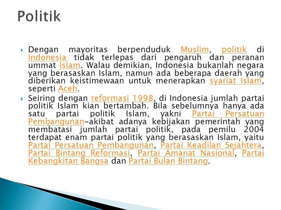  Dengan mayoritas berpenduduk Muslim, politik di Indonesia tidak terlepas dari pengaruh dan peranan ummat Islam. Walau demikian, Indonesia bukanlah n