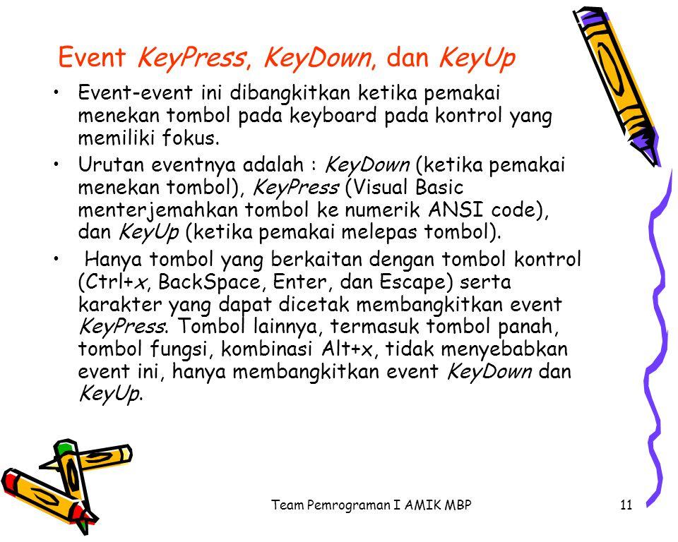 Team Pemrograman I AMIK MBP11 Event KeyPress, KeyDown, dan KeyUp Event-event ini dibangkitkan ketika pemakai menekan tombol pada keyboard pada kontrol yang memiliki fokus.