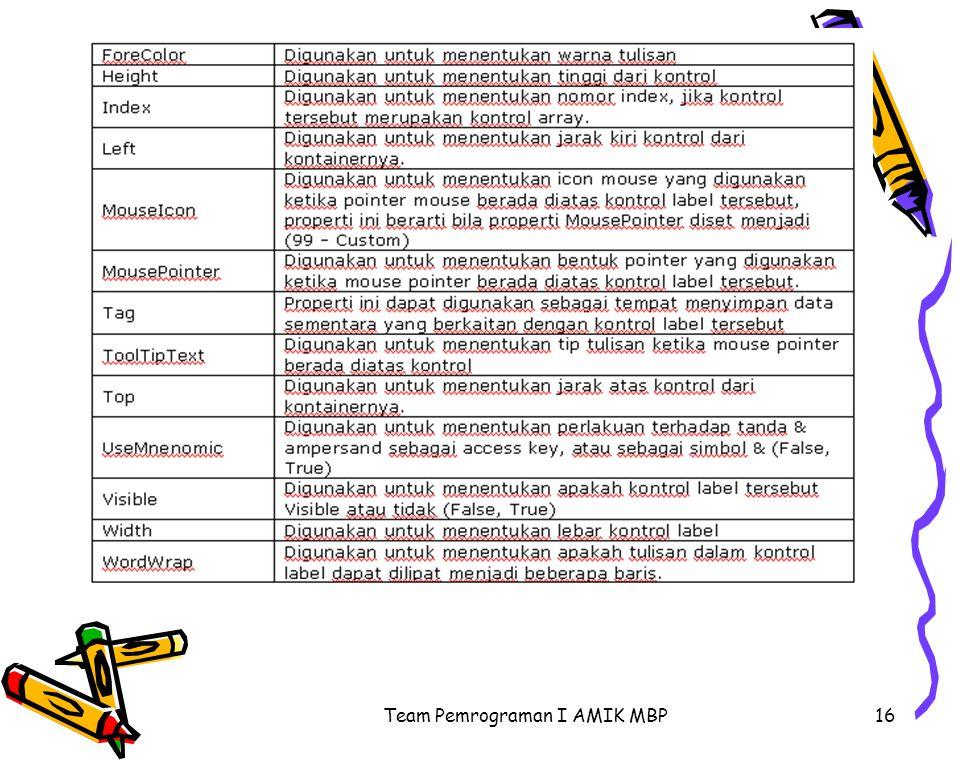 Team Pemrograman I AMIK MBP16