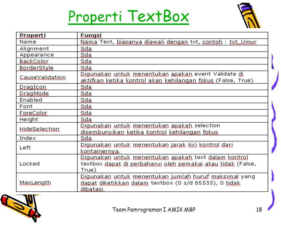 Team Pemrograman I AMIK MBP18 Properti TextBox