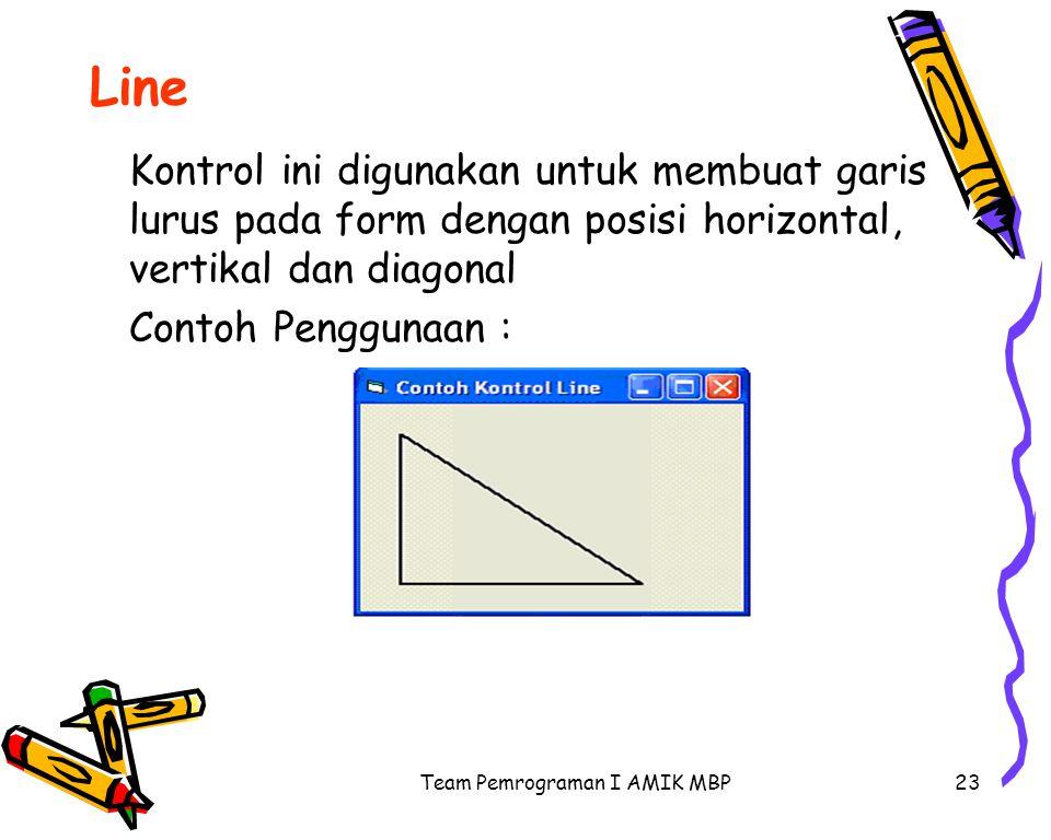 Team Pemrograman I AMIK MBP23 Line Kontrol ini digunakan untuk membuat garis lurus pada form dengan posisi horizontal, vertikal dan diagonal Contoh Penggunaan :