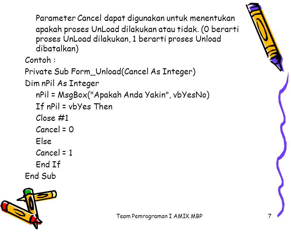 Team Pemrograman I AMIK MBP7 Parameter Cancel dapat digunakan untuk menentukan apakah proses UnLoad dilakukan atau tidak. (0 berarti proses UnLoad dil