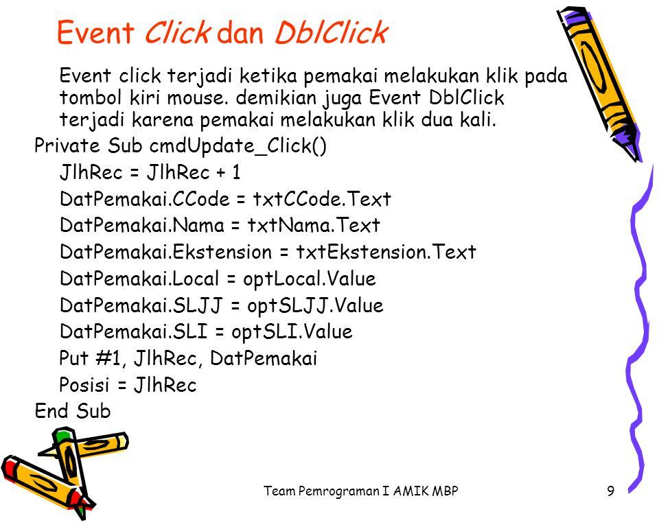 Team Pemrograman I AMIK MBP9 Event Click dan DblClick Event click terjadi ketika pemakai melakukan klik pada tombol kiri mouse.