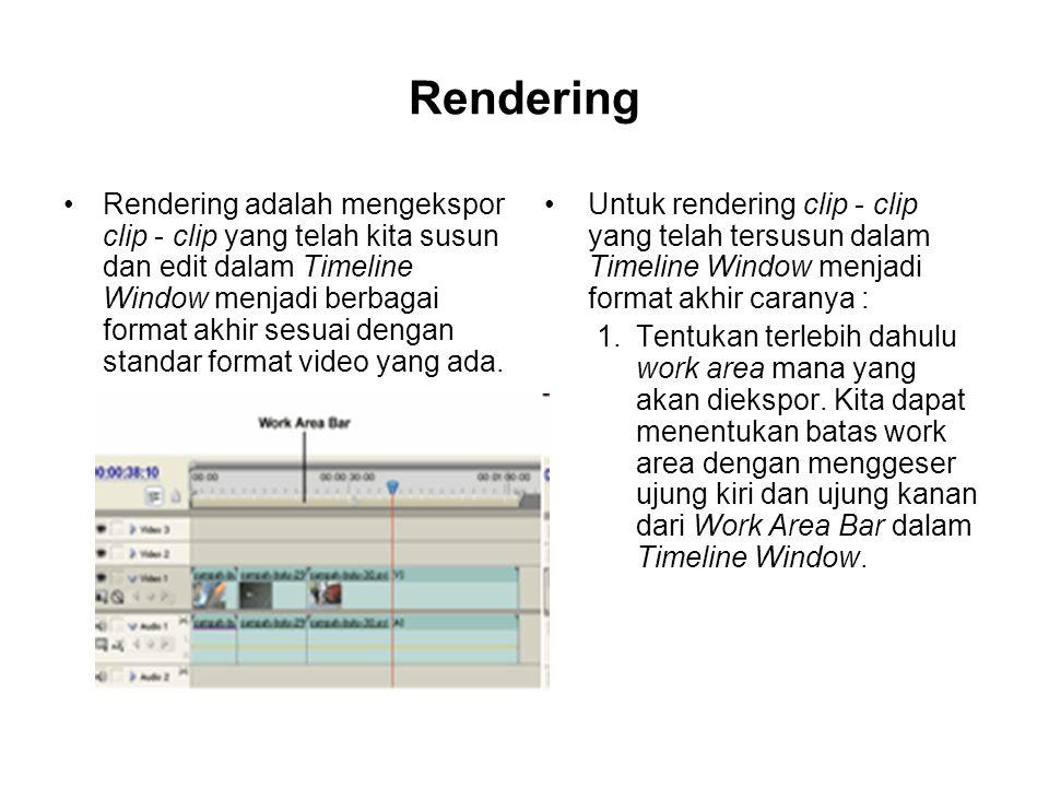 Rendering Rendering adalah mengekspor clip - clip yang telah kita susun dan edit dalam Timeline Window menjadi berbagai format akhir sesuai dengan sta