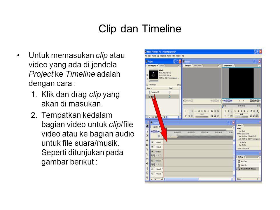 Clip dan Timeline Untuk memasukan clip atau video yang ada di jendela Project ke Timeline adalah dengan cara : 1.Klik dan drag clip yang akan di masuk