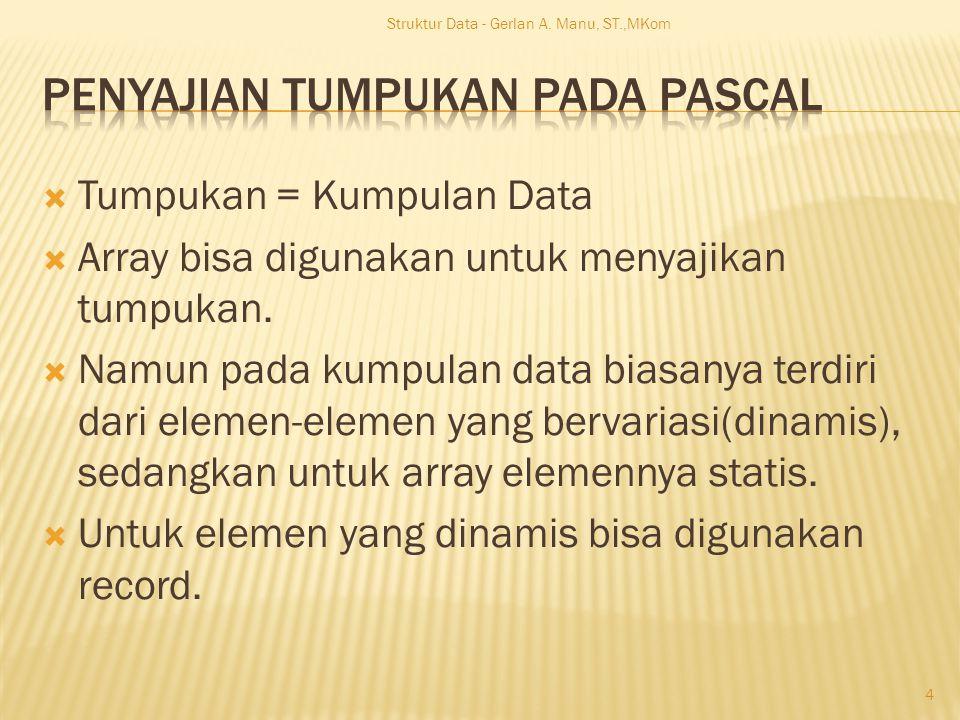  Tumpukan = Kumpulan Data  Array bisa digunakan untuk menyajikan tumpukan.