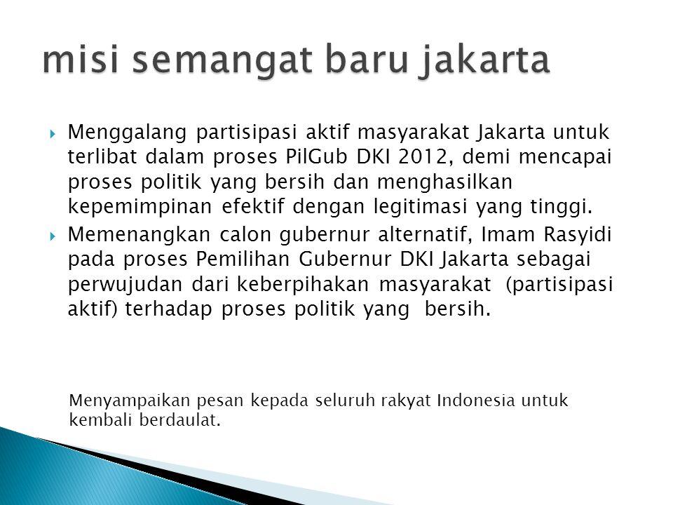  Menggalang partisipasi aktif masyarakat Jakarta untuk terlibat dalam proses PilGub DKI 2012, demi mencapai proses politik yang bersih dan menghasilkan kepemimpinan efektif dengan legitimasi yang tinggi.