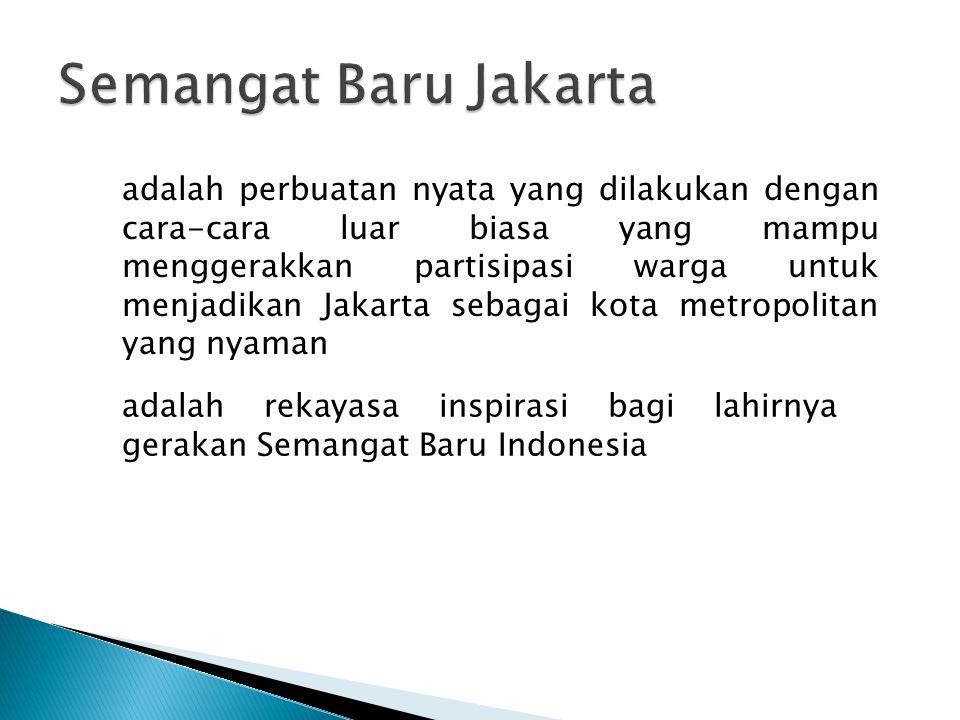 adalah perbuatan nyata yang dilakukan dengan cara-cara luar biasa yang mampu menggerakkan partisipasi warga untuk menjadikan Jakarta sebagai kota metropolitan yang nyaman adalah rekayasa inspirasi bagi lahirnya gerakan Semangat Baru Indonesia